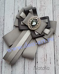 Галстук-брошь серый Г3