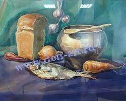 Картина акварелью Сельский натюрморт