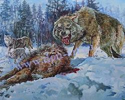 Картина Волки на охоте