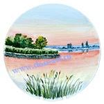 Тарелка настенная Утро туманное (вар. Лето)