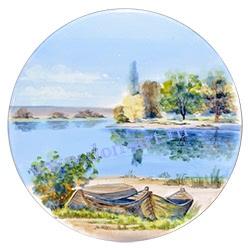 Тарелка настенная Утро туманное (вар. Лодки)