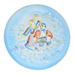 Тарелка Зимние узоры (ангобная)